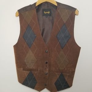 Learsi large brown leather vest